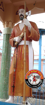 கோனான் குப்பத்தில் பெரிய நாயகி அன்னை ஆலயத்தின்முன் அமைந்துள்ள வீரமாமுனிவர் திருவுருவம்